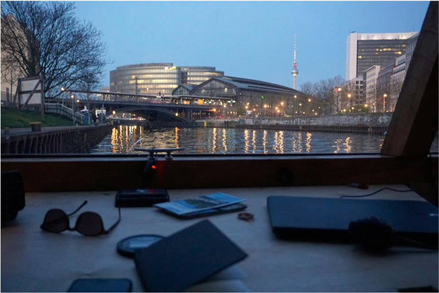#10 Image Caption: Twilight on the River Spree from the inside of the floating camera