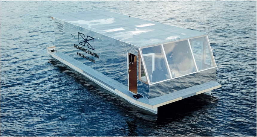 #2a: Floating Camera Obscura boat arrives to Paris for Paris Photo.